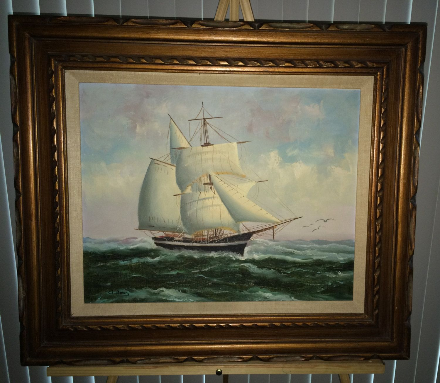 Clipper ship oil on canvas original painting signed by j james clipper ship oil on canvast original painting signed by j james nautical scene original frame jeuxipadfo Image collections
