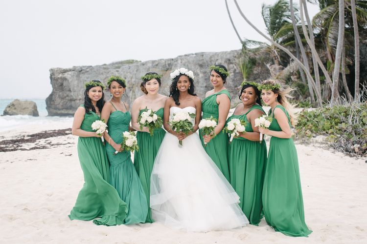 Breathtaking Destination Wedding In Barbados Beach BridesmaidsBeach Bridesmaid DressesEmerald GreenWedding