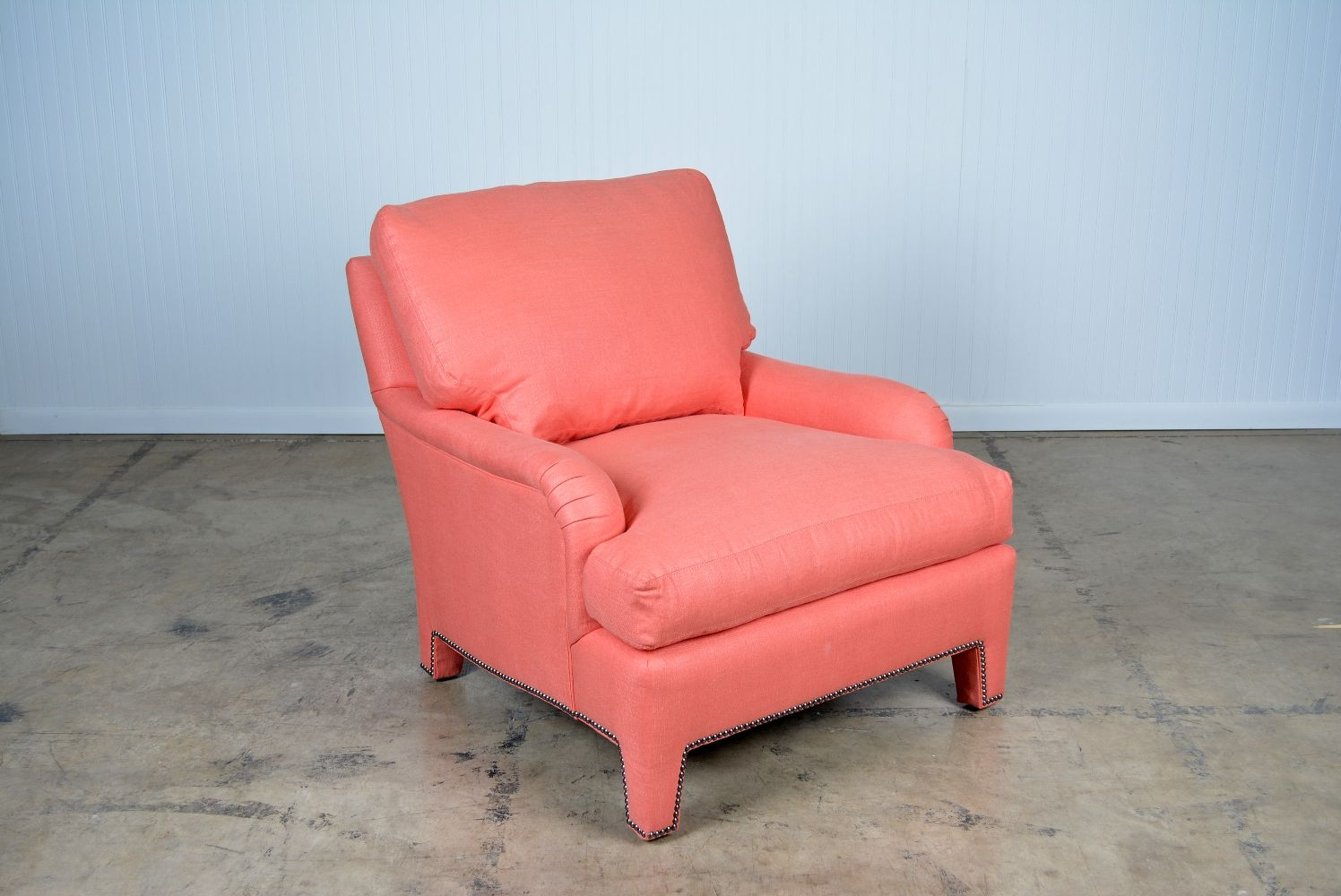 Rolled Arm Coral Upholstered Chair   Mecox Gardens