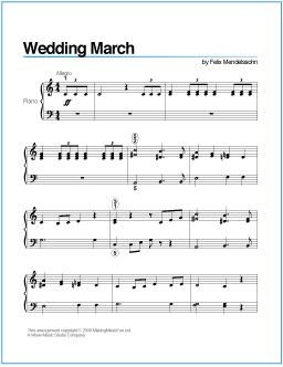Wedding March Mendelssohn Printable Sheet Music For Piano Http Wavemusicstudio