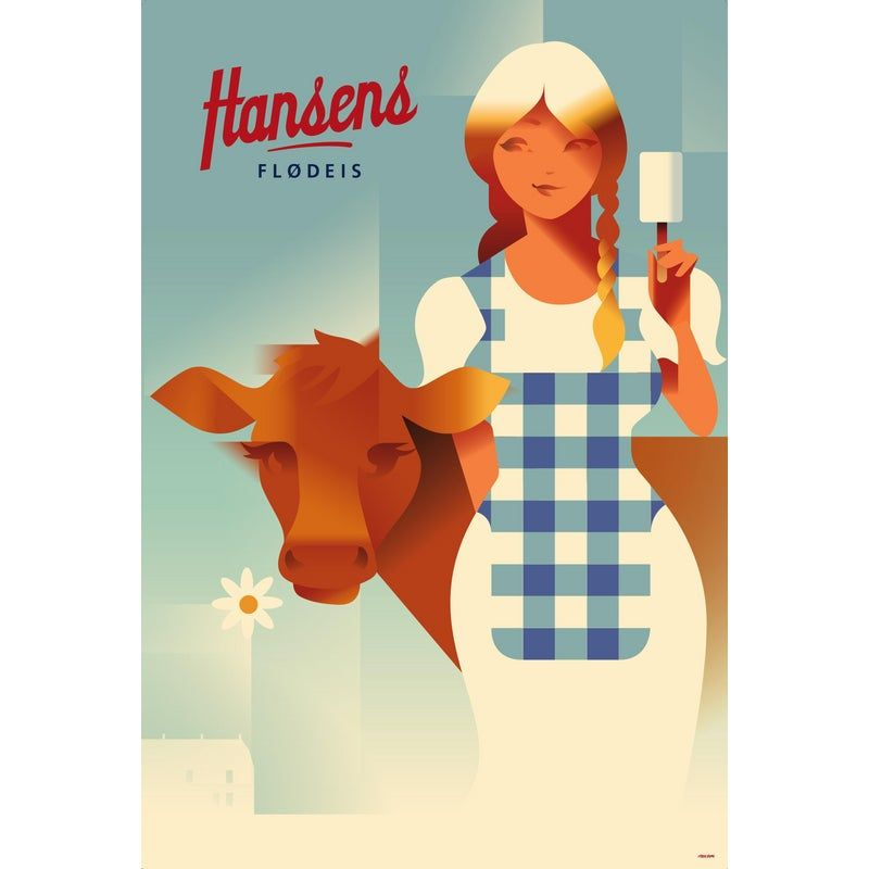 Contemporary Danish Poster, Farm Girl With Cow, Mads Berg