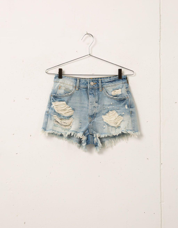 Short Bershka Taille Haute Ultra Dechire Shorts Bershka Algerie