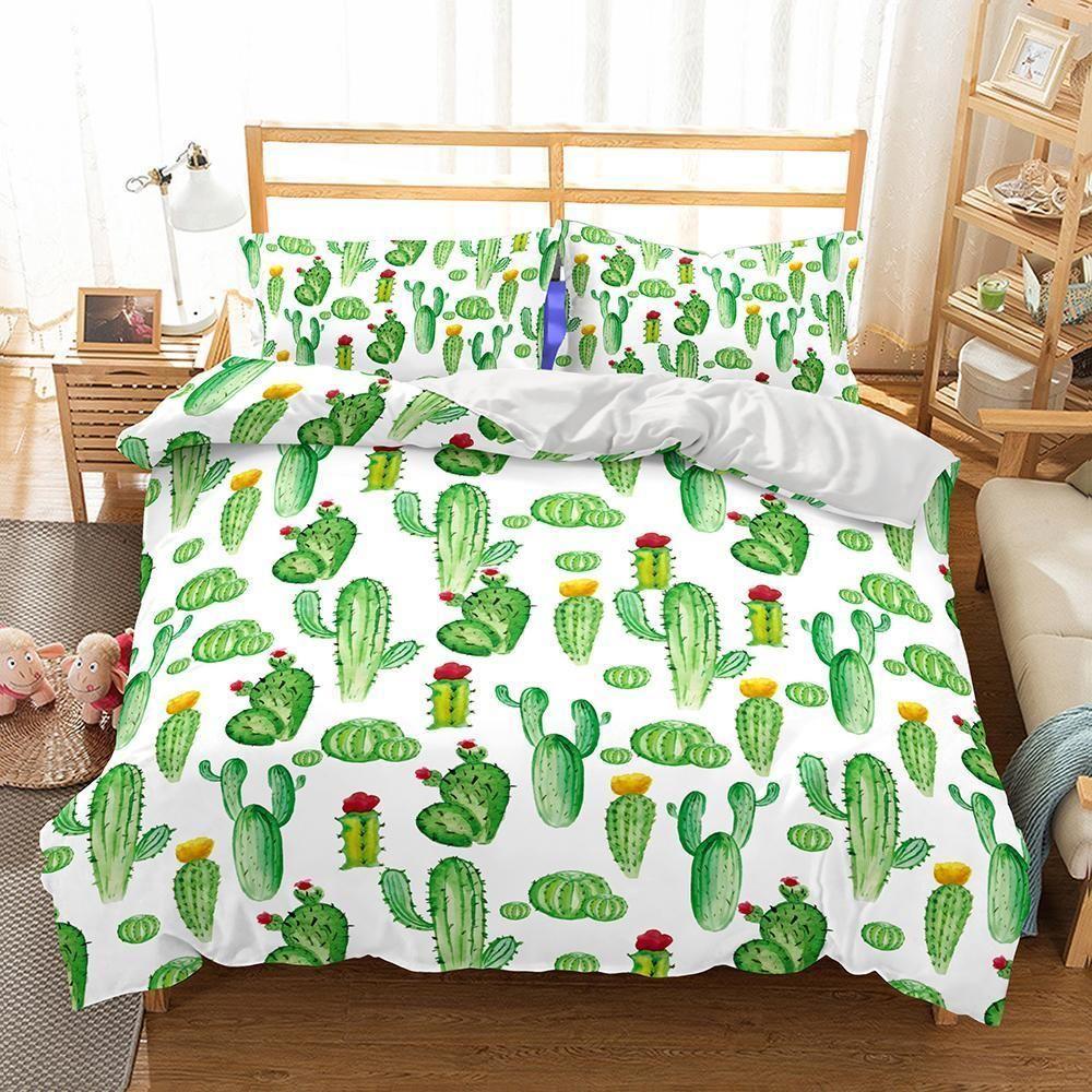 3D Art Pattern Green Cactus Printed Bedding Duvet Cover