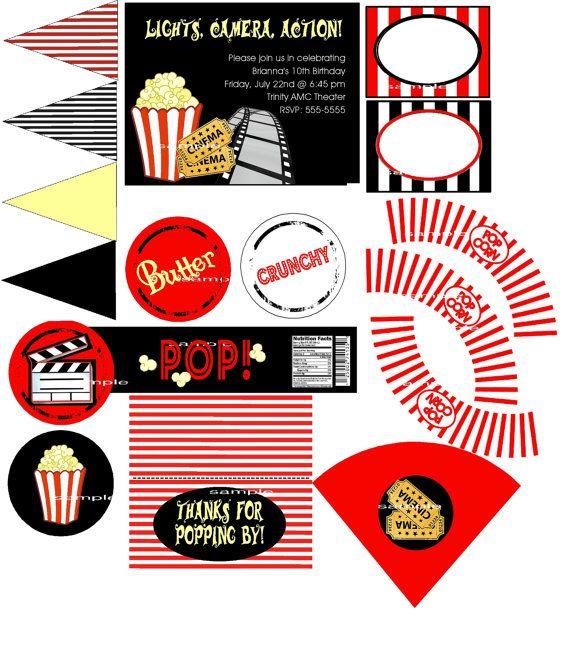 Custom Movie Popcorn Hollywood Party Printable Invitations