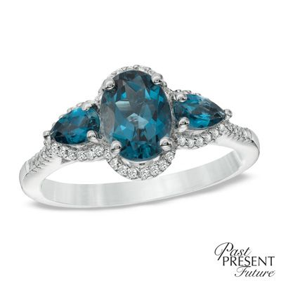 Zales 7.0mm London Blue Topaz and Diamond Accent Engagement Ring in 10K White Gold poZFTQ