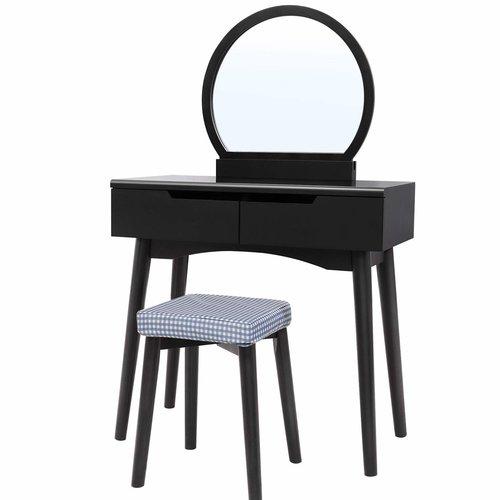 Schminktisch Set Andi mit Spiegel 17 Stories Farbe: Schwarz