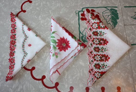 Vintage Trio of Pretty Printed Christmas0themed by FelicesFinds