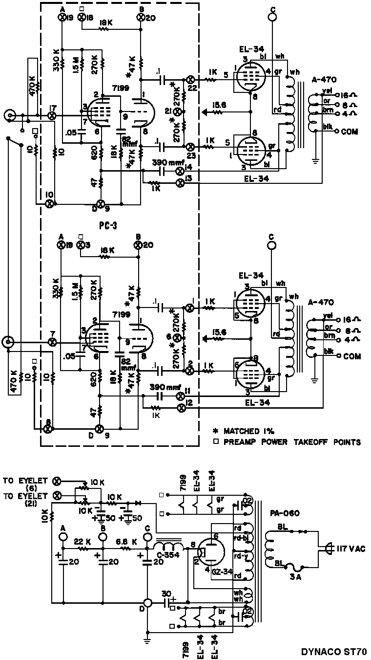 Dynaco St 70 7199 El34pp Dynaco St 70 Valve Amplifier Electronic Schematics Electronic Circuit Projects