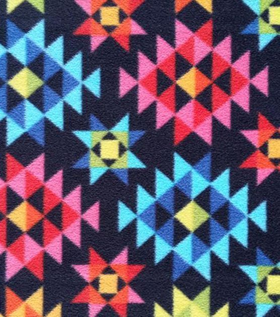 Anti-Pill Fleece Fabric Bright Geo Southwest