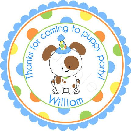 Woof Woof Party Puppy Personalized Stickers - Party Favor Labels, Address Labels, Birthday Stickers, Puppy, Dog - Wide Border Design
