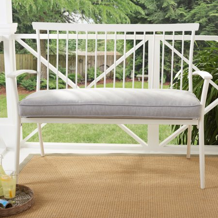 Better Homes & Gardens Shaker Patio Bench With Gray Cushion
