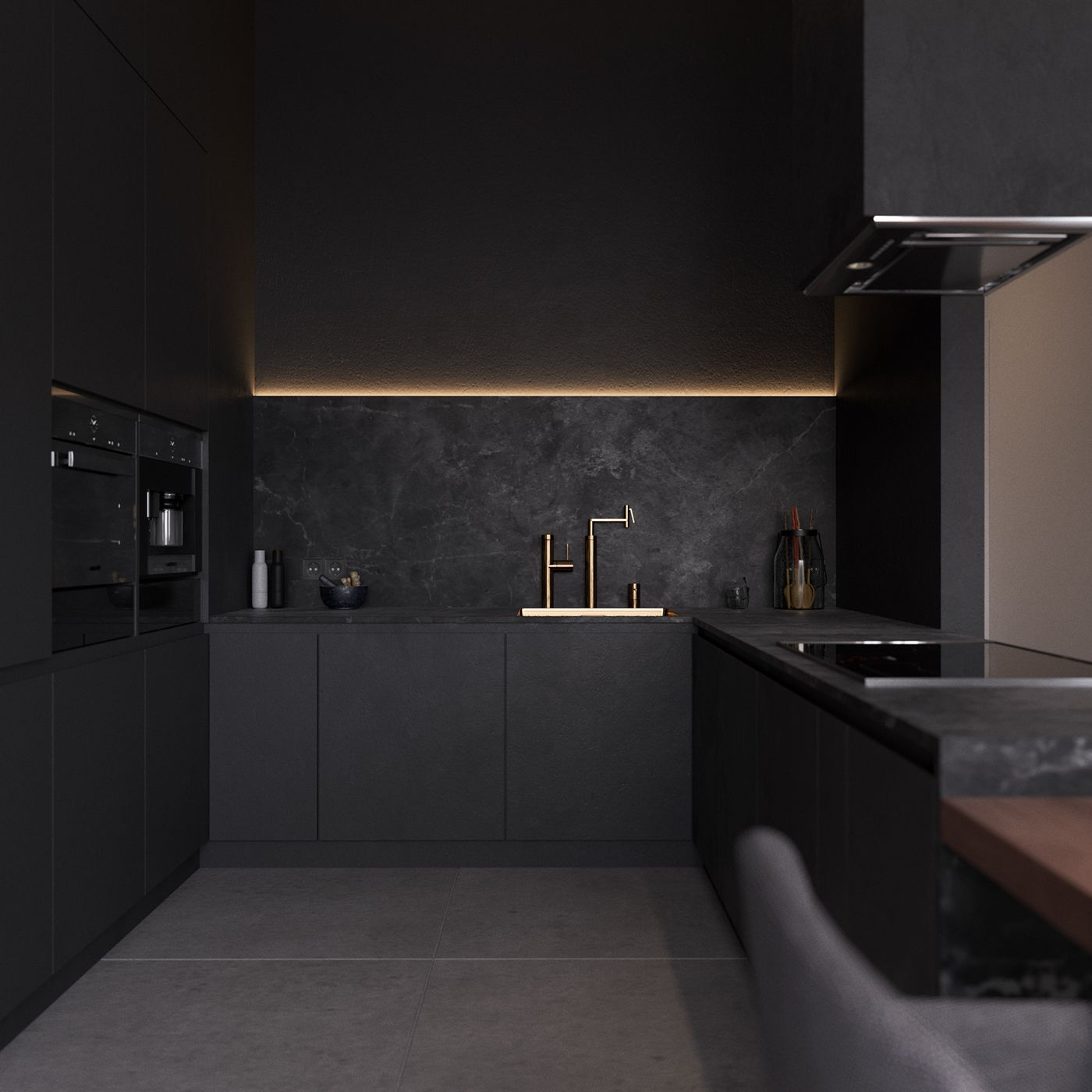 All Black Kitchen Diseno De Interior Para Apartamento Diseno