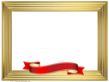 Gold frame with a red and gold ribbon photography pinterest certificate border templates free printable borders award and certificate borders yellow certificate border template free certificates templates borders yadclub Image collections