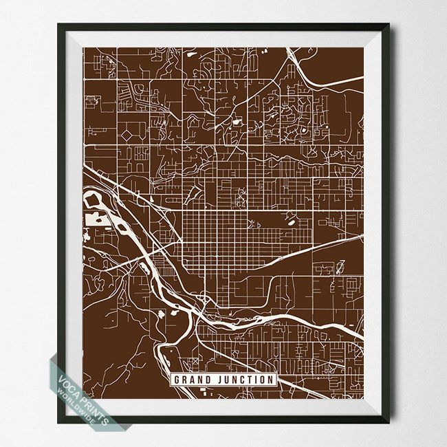 GRAND JUNCTION, COLORADO STREET MAP PRINT by Voca Prints! Modern street map art poster with 42 color choices. Perfect for anyone who loves to travel or is away from home.