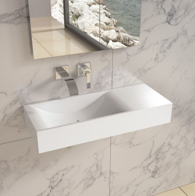 Matte White Wall Hung Solid Surface Stone Resin Sink contemporary ...