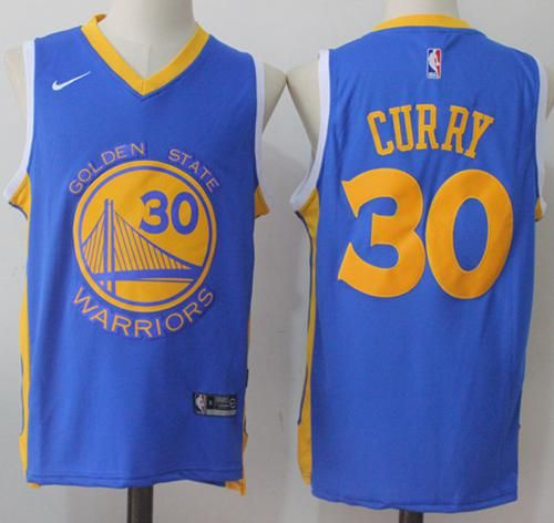 67f8fd79796 Nike Warriors  30 Stephen Curry Royal Road Stitched NBA Jersey ...