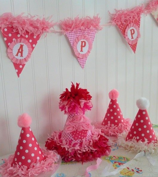 A Cupcake Themed 1st Birthday Party With Paisley And Polka: Custom Boutique Cheery Birthday Party Hat Collection Pink