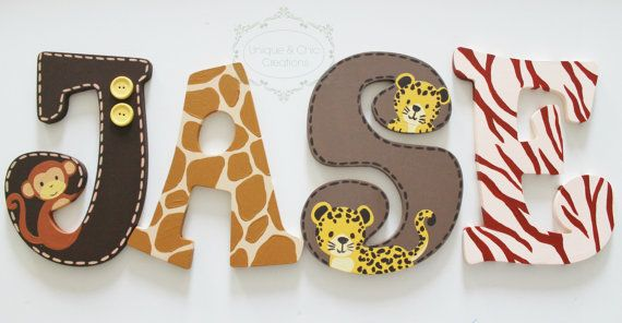 Lambs and Ivy Safari Express Themed Wooden Letters for Nursery or ...