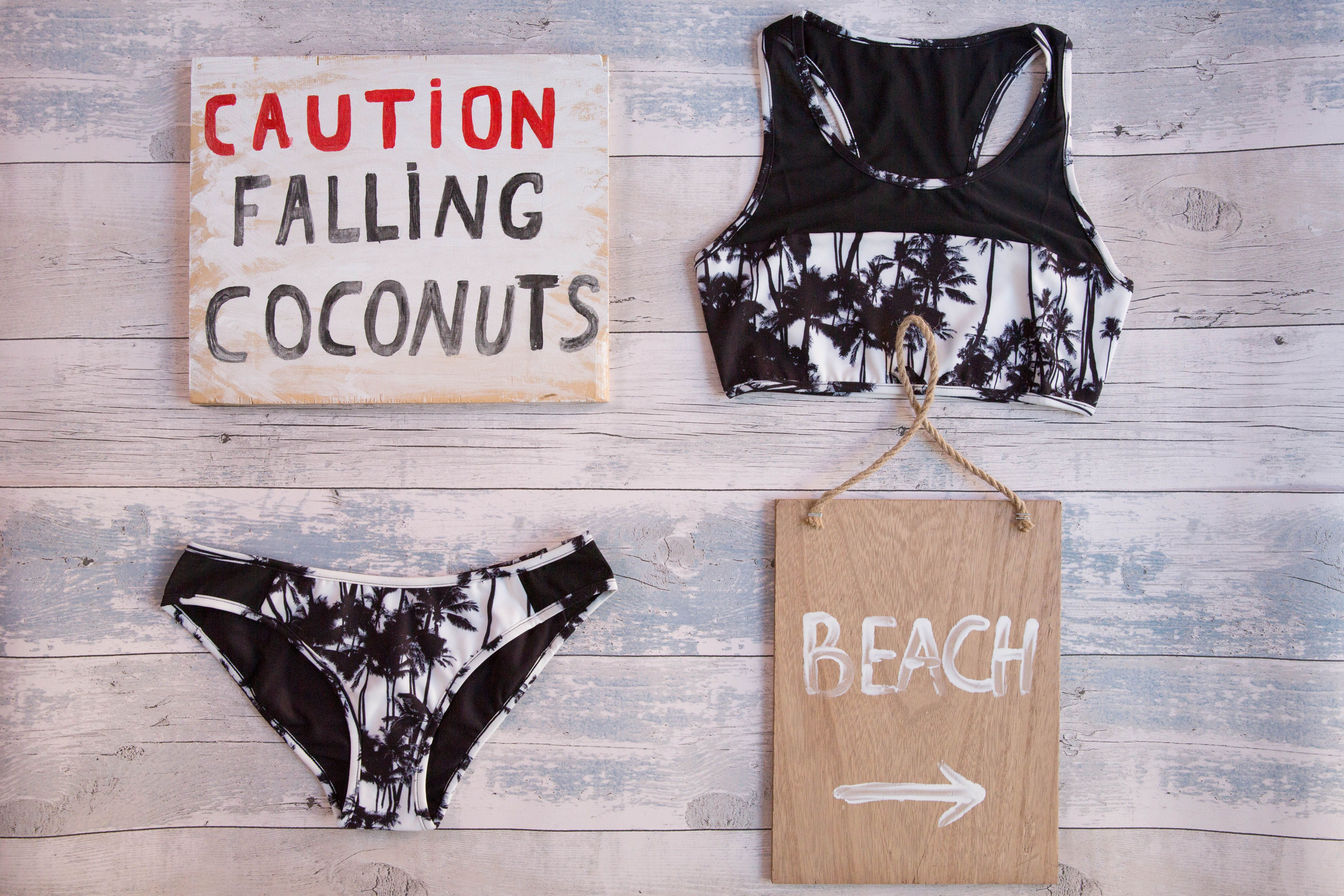 f57829650f1 Tropical reversible bikini. Where's the beach at? - flat lay photography