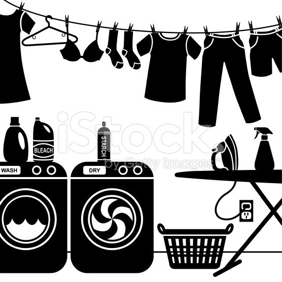 A Vector Illustration Of Laundry Room