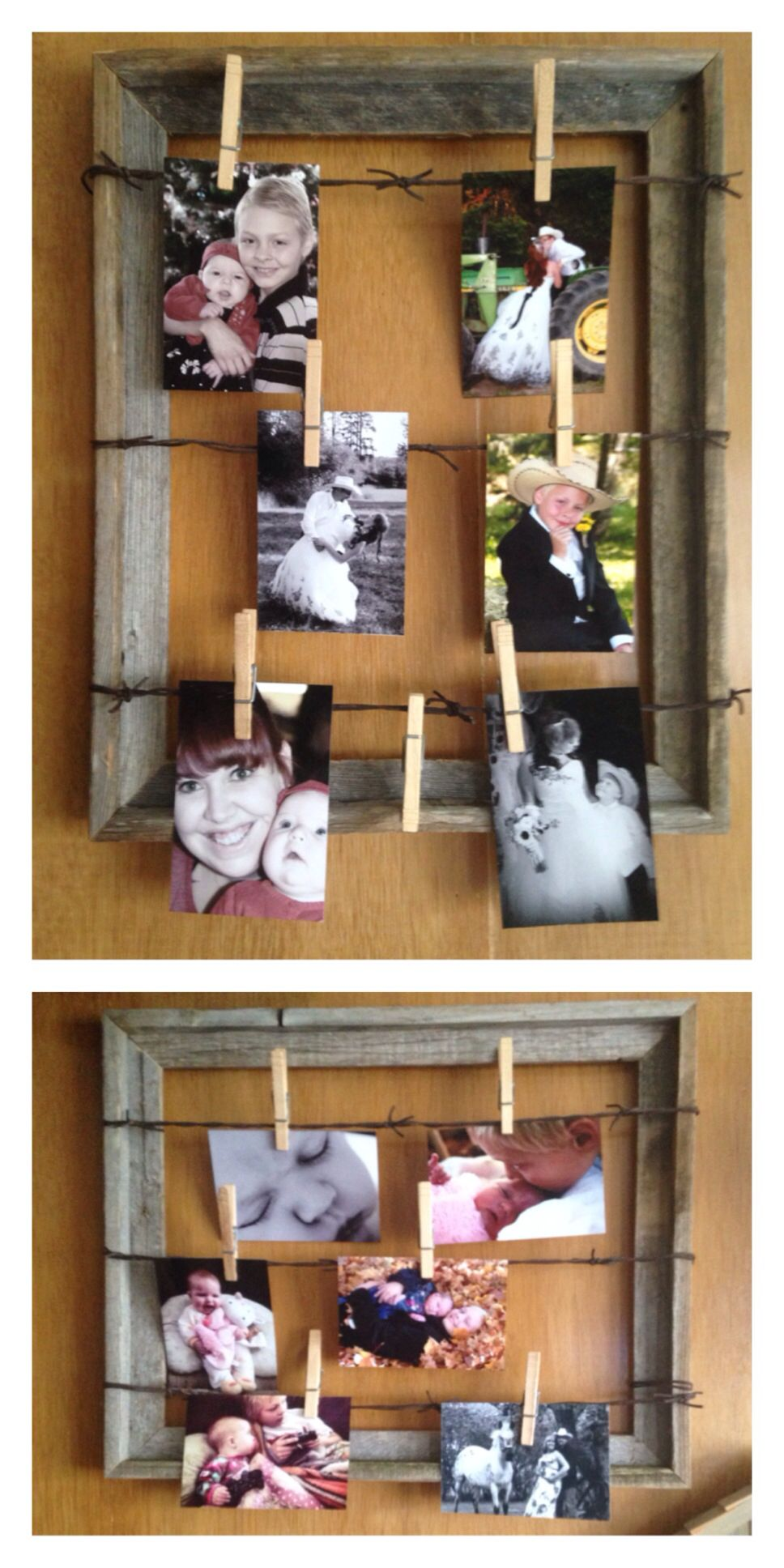 Barn wood frame fake barbed wire (hobby lobby) clothespins | Decor ...