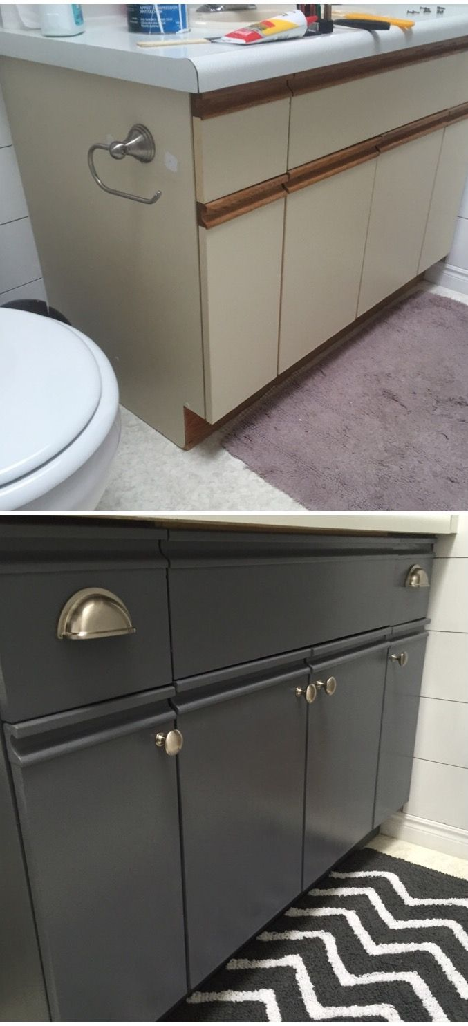Bathroom Update How To Paint Laminate Cabinets The Penny Drawer Bathroom Cabinets Diy Laminate Cabinets Laminate Kitchen Cabinets
