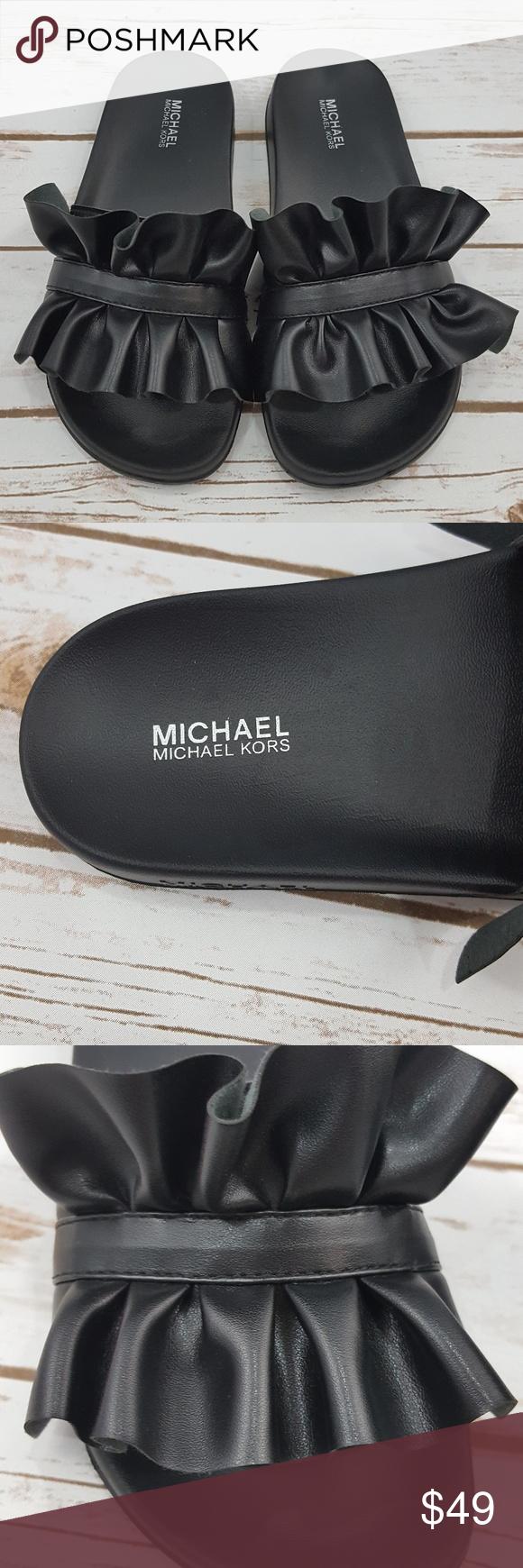 868205e578ef NEW Michael Kors Black Bella Sport Slide Sandals Brand new