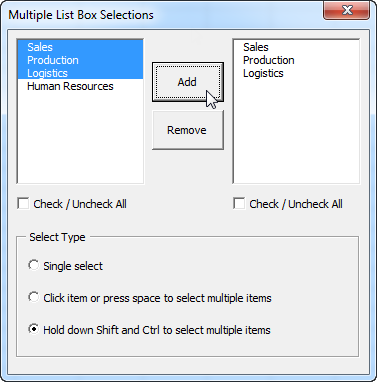Multiple List Box Selections in Excel VBA | Excelling    Well not