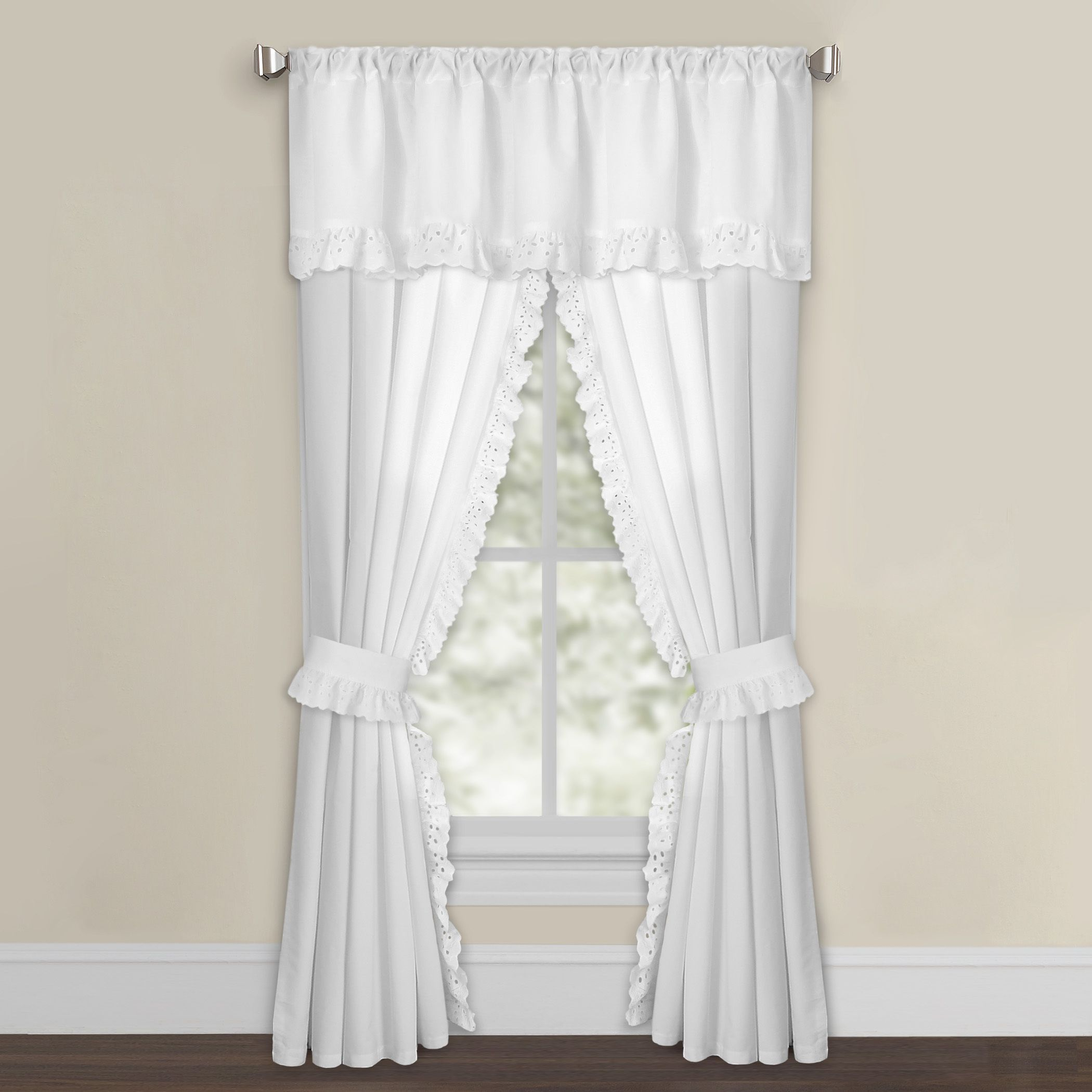 White Microfiber Eyelet Curtain Panel Pair Curtains Panel