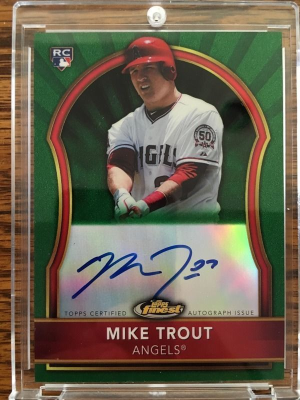 2011 Topps Finest Mike Trout Rookie Auto Green Refractor 47