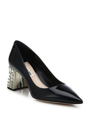 MIU MIU Jeweled Heel Patent Leather Pumps. #miumiu #shoes #pumps