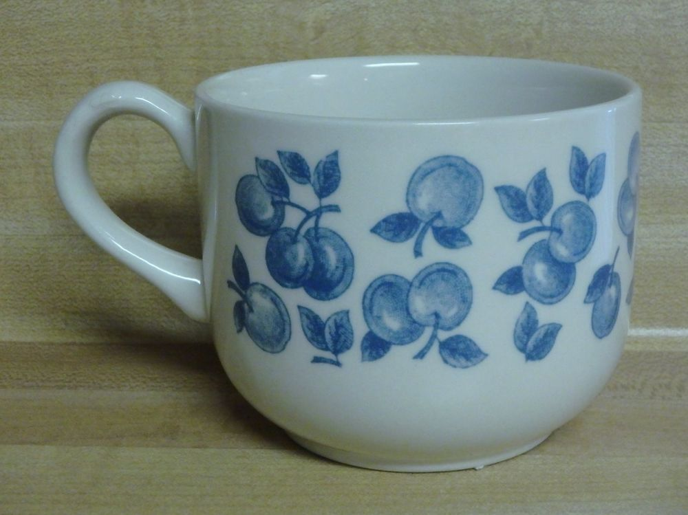 Small White Coffee MUG or Tea CUP w/ BLUE CHERRIES England EIT LTD ...
