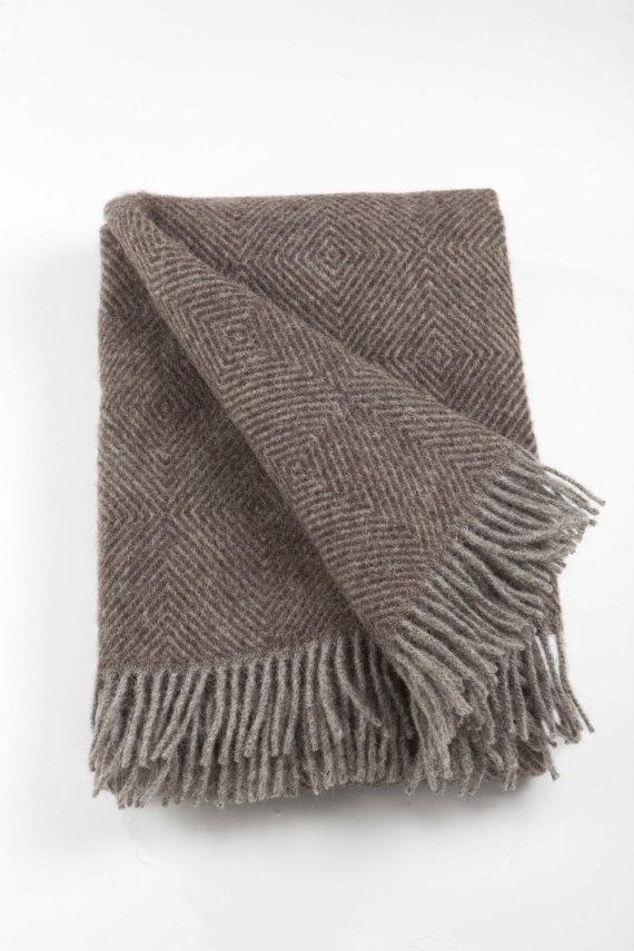 Natural Brown Wool Blanket Wool Throw Blanket Chunky Wool