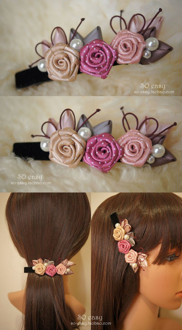 How to DIY Pretty Satin Ribbon Flower Hairband #ribbonflower