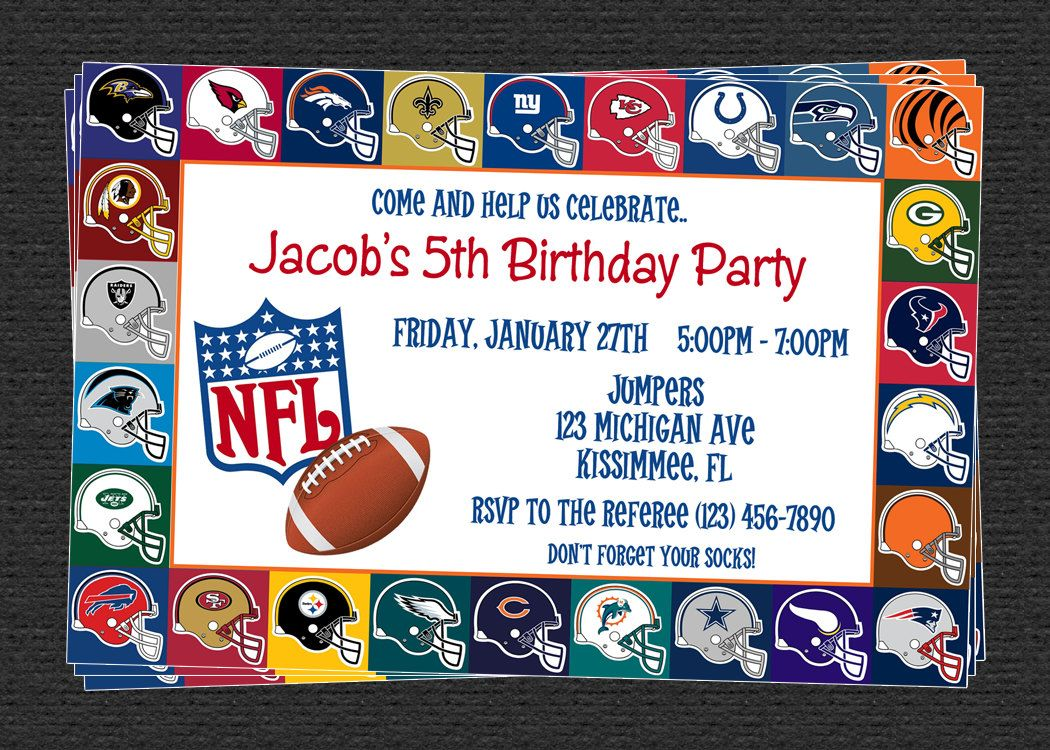 Nfl Football Birthday Invites Custom Nfl Invitations Birthday