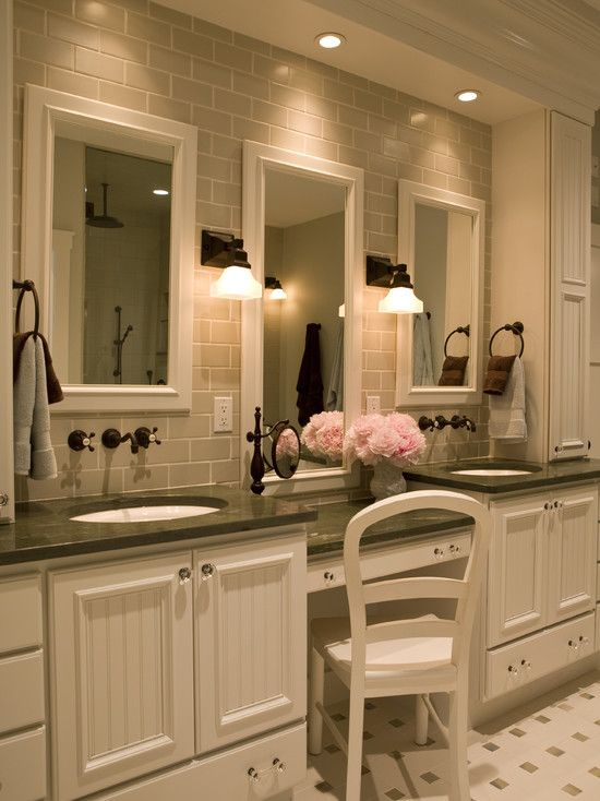 traditional bathroom three mirrors two sinks one dressing station and subway tile - Traditional Bathroom Design Ideas