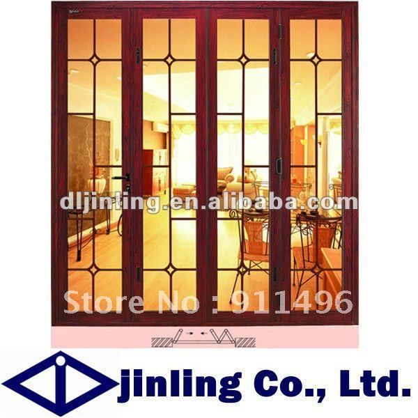 Folding Wooden Door Soundproof Folding Interior Door Froested Glass Folding Door Furnishings