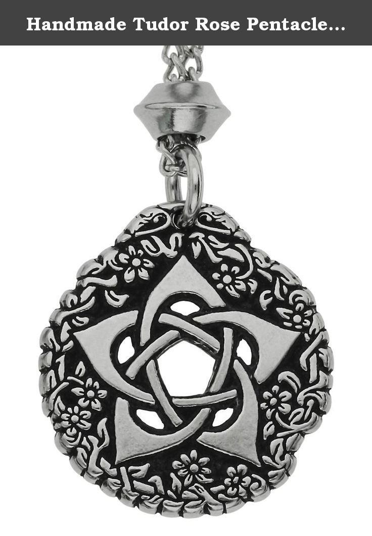 Handmade Tudor Rose Pentacle Of The Goddess Pewter Pendant Symbol