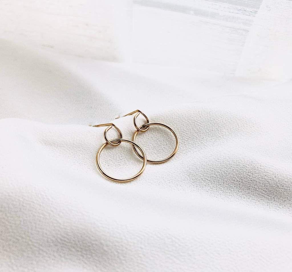Photo of Double Circles Dangle Stud Earrings