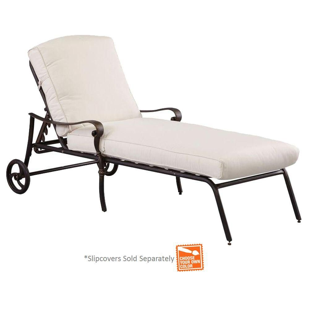 Hampton Bay Edington Cast Back Adjule Patio Chaise Lounge With Cushion Insert Slipcovers Sold Separately
