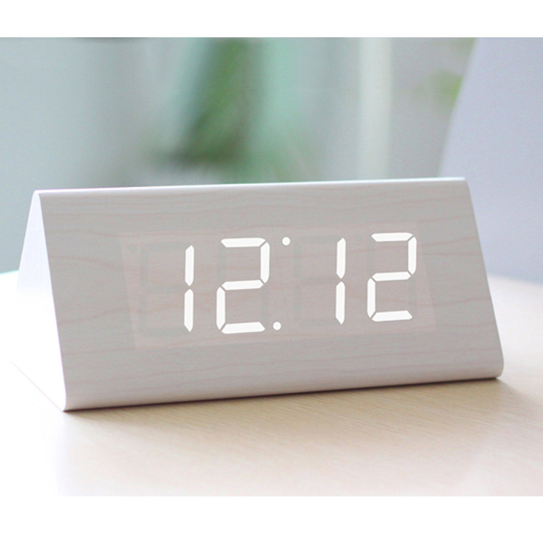 Wood Grain White Led Alarm Clock Time Temperature Date Sound Control Relogio De Mesa Acessorios Mesa