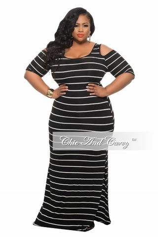 8e20c09a78c New Plus Size BodyCon Long Dress with Open Shoulders and Slit in Black and White  Stripe