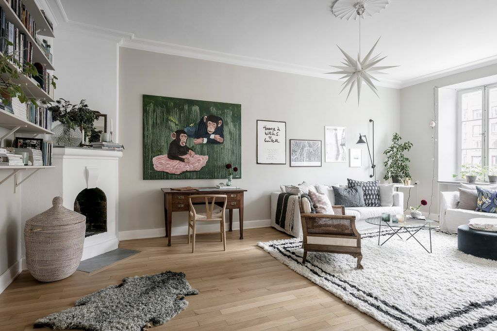 Gravity Home Scandinavian Living Room With Workspace And Large Delectable Large Artwork For Living Room Decorating Design