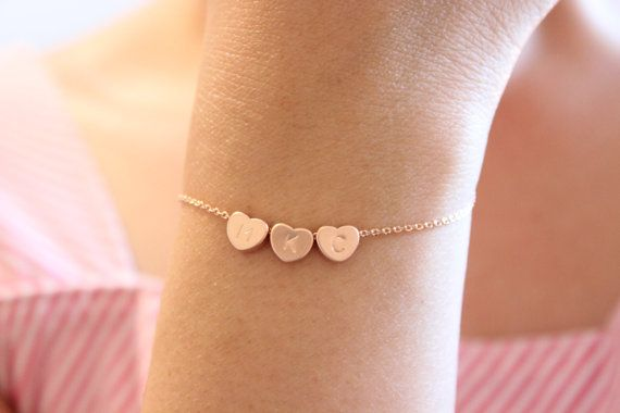 Tiny Initial Heart Bracelet Dainty Initials Delicate Sister Gift For Mom Friend
