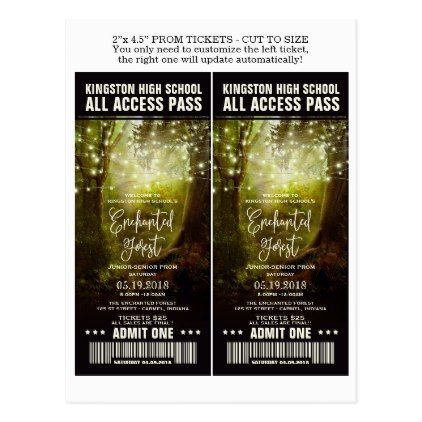 Enchanted Forest Prom Admission Tickets Template Postcard   Prom Chic Party  Gift Idea Diy Promenade Dance  Prom Ticket Template