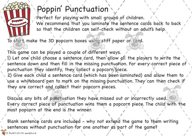teacher 39 s pet poppin 39 punctuation game premium printable classroom activities and games. Black Bedroom Furniture Sets. Home Design Ideas