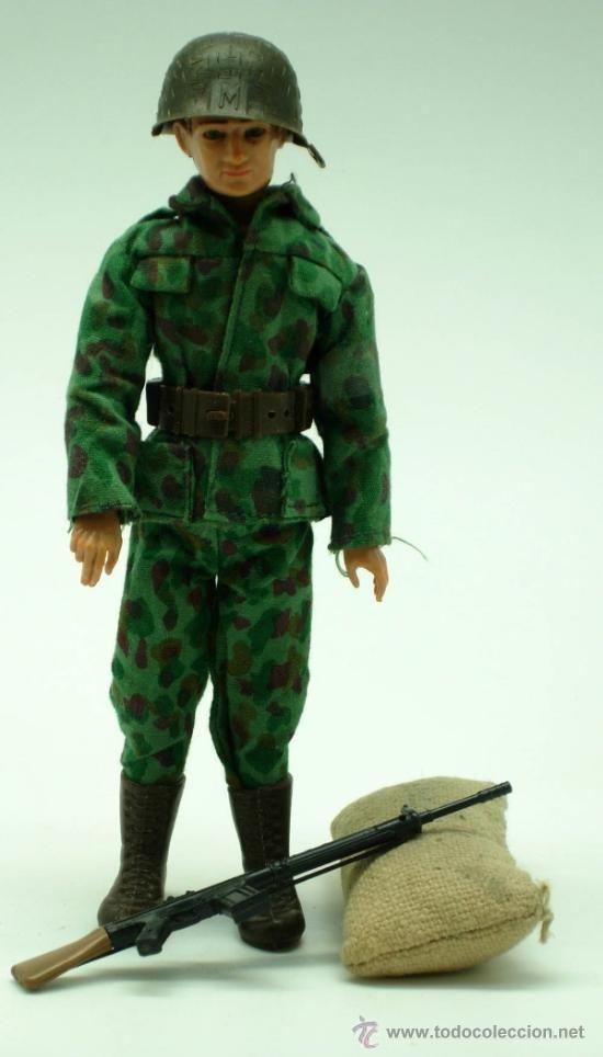 Madelman Soldado camuflaje 1ª generación con saco y fusil años 60