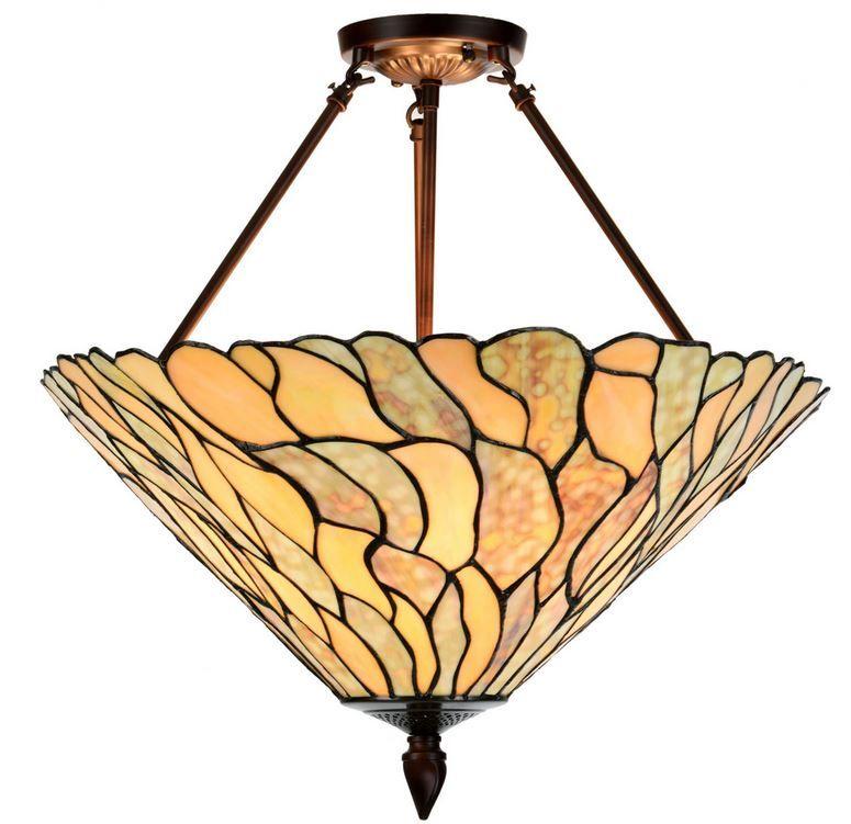 TIFFANY-Pendellampe JADESTONE.  Design= GJV-Glaskunst-Studio.  3xE-27, je 60W. Schirm=50cm ø. Gesamthöhe= ca. 55cm.  Sehr sorgfältig ausgesuchte TIFFANY-Glasteile verwandeln unsere TIFFANY-Pendelleuchte JADESTONE in einen wahren Blickfang.  Die warmen Bronze- und Grüntöne orientieren sich an den Farben des Edelsteins Jade. Dieser spektakuläre Lampenschirm wird bei uns klassisch an drei edlen Bronzestäben aufgehängt angeboten.  Eine einzigartige Tiffany-Lampe, zeitlos,in allerbester…