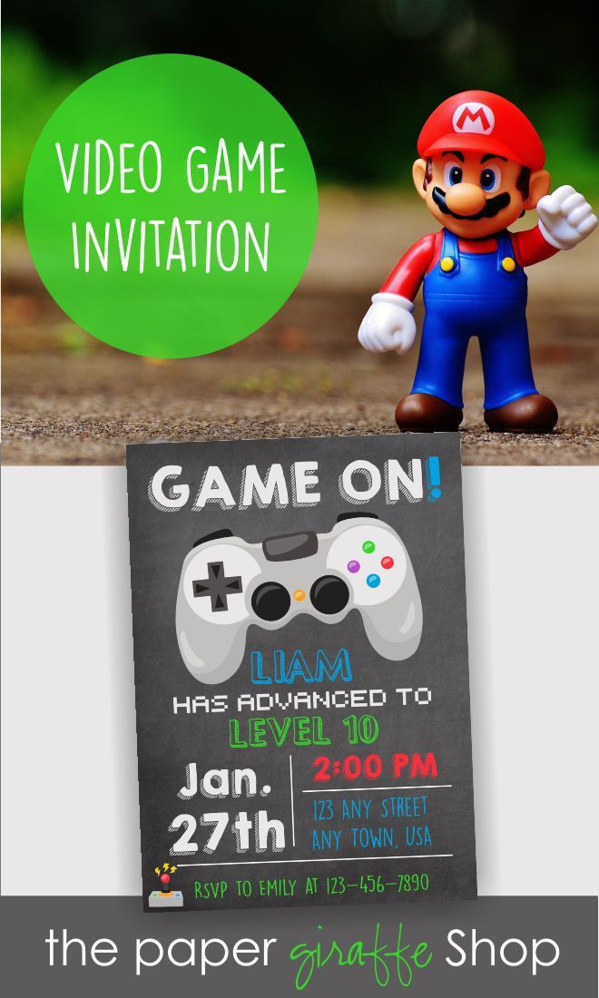 Video game invitation video game birthday gaming invitation video game invitation video game birthday party invitation custom design stopboris Choice Image
