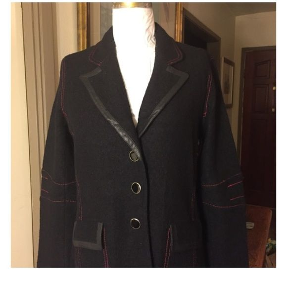 """ABS JACKET Womens size small. 100% wool with PU trim. Red thread top stitch detail. Unlined. Measurements are : Bust-40"""" Waist-38.5"""" Hips-42"""" Length at center back -32.5"""" Across shoulders-16 Sleeve length-23.5"""" ABS essentials Jackets & Coats"""